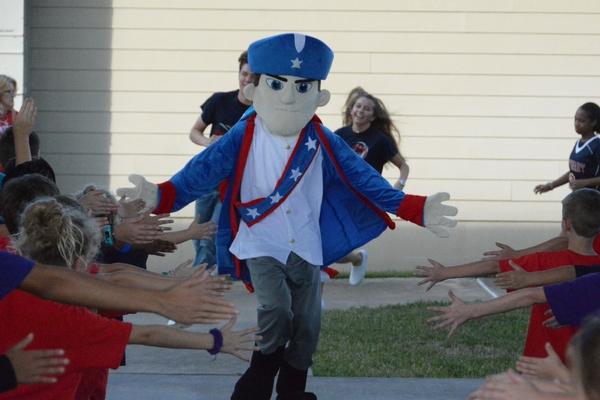 Patriot Mascot at Pep Rally